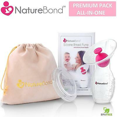 Manual Breast Pump Silicone Breastfeeding NatureBond Suction Milk Saver Bottle