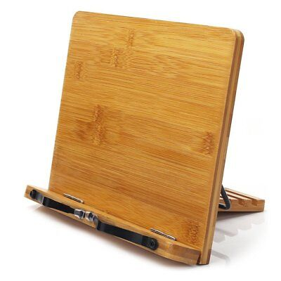 Bamboo Book Stand,HENGSHENG Adjustable Book Holder Tray and Page Paper
