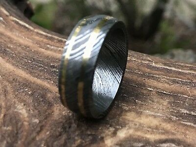 HUNTEX Unique Damascus Ring with Brass Inlay Ring Size 8.75 Mens Jewellery Gift