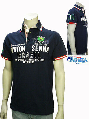 Ayrton Senna Polo-Shirt Brazil 3 times World Champion (S46)