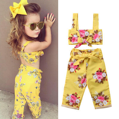 Toddler Kids Baby Girl Cute Outfits Shoulder Vest Tank Tops+Short Pants 2Pcs Set