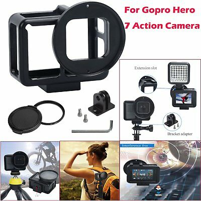 For Gopro Hero 7 Action Camera Protect Housing Cage Frame +52mm UV Lens Aluminum