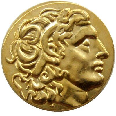 Rare Ancient Alexander III The Great Greek Coin 336-323 BC Gold Plated Drachm