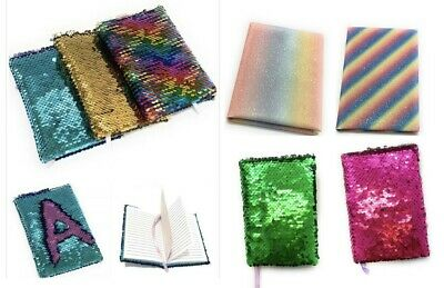Small A6 Reversible Sequin Notebook Notepad Journal Diary Book Xmas Girls Gift