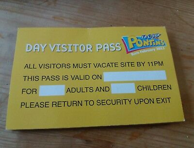 Pontins day passes pass adult & child camber brean southport prestatyn pakefield