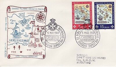 Sovereign Military Order of Malta SMOM FDC 1968 Locations (b)