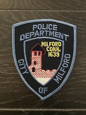 Milford Ct Connecticut Police Department Officer Patch Blue Black Issue