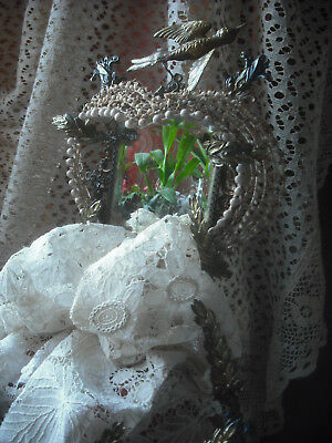 Antique French Victorian Wedding Memory & Rare Lace Bridal Veil
