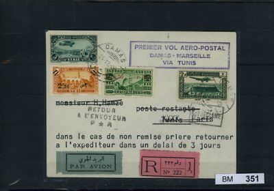 BM0351, Syrien, Brief, Erstflugbrief Damaskus - Marseille via Tunis 24.12.1938