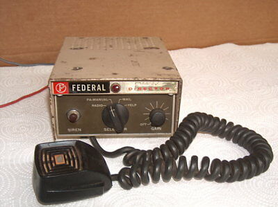 Vintage Federal signal Director PA-15A electronic 12V pa siren with microphone