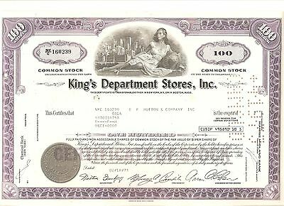 Alte Aktie USA Stock Wertpapier King's Department Stores Inc. 1973