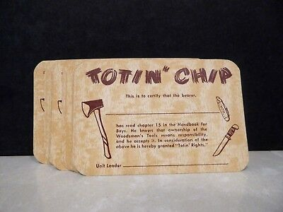 Vintage Boy Scout Totin' Chip Merit Badge Cards lot of 24 Ax Knife