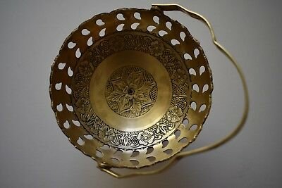 Vintage Small Brass Bowl With Folding Handle