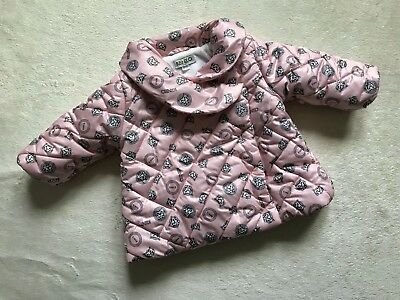 KENZO Baby Girl Designer Pink Winter Quilted Padded Tiger Logo Jacket 3-6 months