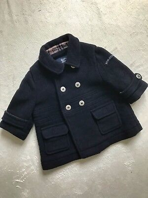BURBERRY Baby Boys Girls Designer Navy Cashmere Wool Tailored Pea Coat 6 months