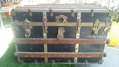 Antique Steamer Trunk  Victorian Style  Flat Top Fancy Wooden Travel Chest