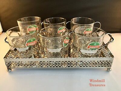 SET OF 6 VINTAGE FRENCH DURALEX GLASS CUPS SILVER PLATED HOLDERS and TRAY - FAB