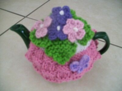 Hand Knitted Basket Weave Tea Cosy Flowers Butterfly For A Small Teapot 1-2 Cup