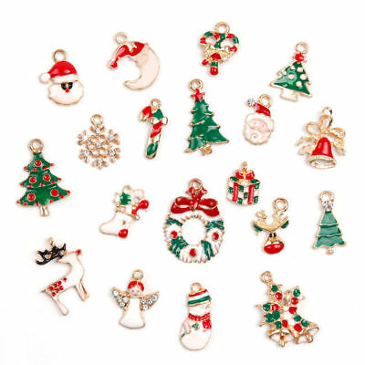 19Pcs/set Enamel Alloy Mixed Christmas Charms Ornament Xmas Jewellery Pendants
