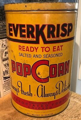Vintage Large Everkrisp Popcorn Tin / Can with Lid - Associated Foods - Chicago
