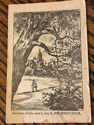 Victorian Trade Card DR SETH ARNOLDS BALSAM puzzle card find soldier