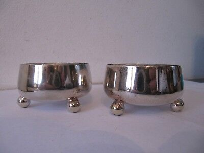 Pair 3 Footed Silver Plated R & B Salts
