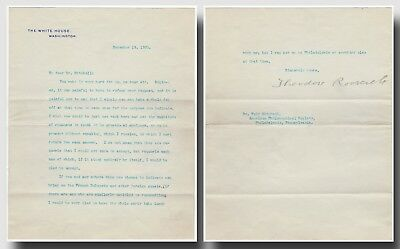 US President Theodore Roosevelt (1858-1919) – Typed letter signed AS President