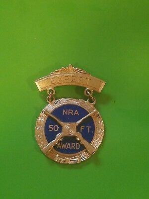 "NRA expert 50 FT. AWARD Pin Medal Gold And Blue By ""SLACKINGTON"""