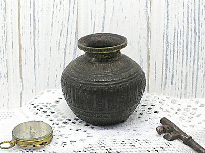 Antique Indian bronze lota kalash, 18th to 19th century Hindu pooja, Chambu lota