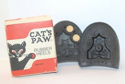 Cat's Paw Rubber Heels Black Size 11-12 Original Box Great Graphics Unused