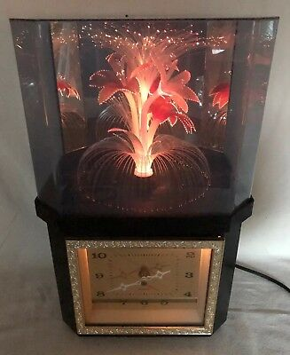 Vintage 1970's-80's RETRO Fiber Optic Rotating Flower Light Lamp & Clock WORKS