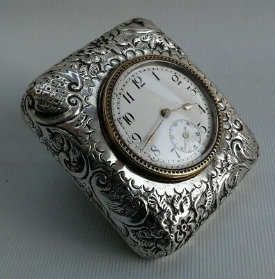 Vintage 1897 Art Nouveau Crichton Bros Solid Silver Easel Desk Travel Clock