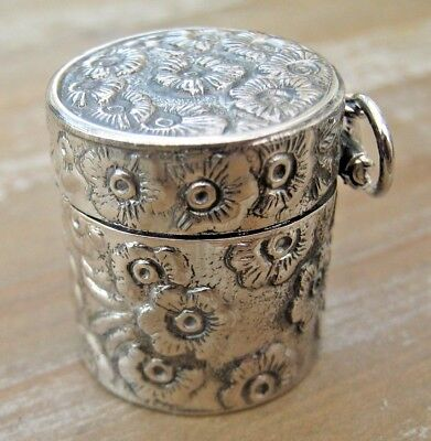 Quality Hallmarked Sterling Silver Daisy Flower Thimble Holder Case Chatelaine