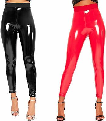 Womens Wet Look Shiny Pu Jeggings Trousers Ladies High Waisted Leggings 6-26