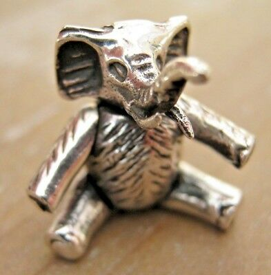 """An Incredibly Sweet Sterling Silver Articulated Miniature Elephant """"Teddy Bear"""""""