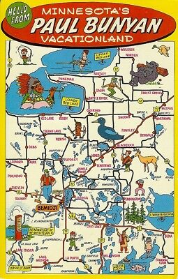 Paul Bunyan Vacationland postcard map Bemidji Minnesota map