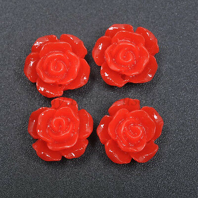 20pcs Red Gorgeous Rose Flower Resin Loose Spacer Beads 12MM