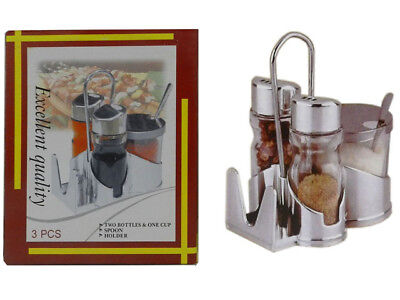 Stainless Steel Salt And Pepper Shakers With Sugar Holder Set Rack