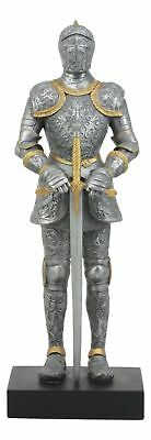 """Standing Medieval Italian Knight With Sword Honorable Premium Decor Statue 13""""H"""