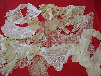 Lovely Mixed Lot Of 9 Antique & Vintage Women's Fancy Lace Dress Collars!!