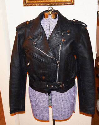 vintage Womens IK Black Leather Motorcycle Jacket, Size M , Exc Cond