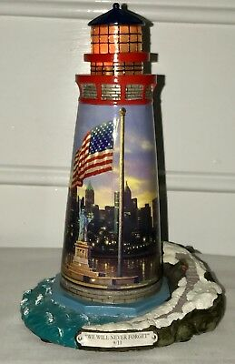 Thomas Kinkade 'The Light Of Freedom' 9/11 Lighthouse Numbered w/ A/C Adapter