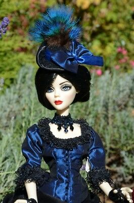 OOAK Evangeline Ghastly Black & Navy Blue Victorian Outfit Dress Gown Jewellery