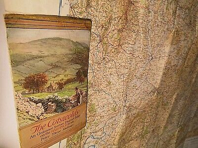 Cotswolds: 1931-7:Ordnance Tourist Relief Map Famous Ellis Martin Cover-Restored