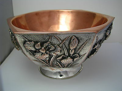 SILVERPLATE BOWL SILVER PLATED BOWL COPPER RICE BOWL DISH Asia Japan