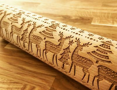 Embossing CHRISTMAS DEERS rolling pin wooden engraved unique design