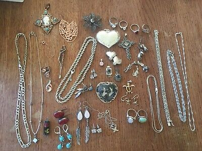 Vintage Lot Of Sterling Silver Jewelry 925 Rings, Bracelets, Necklaces, Etc
