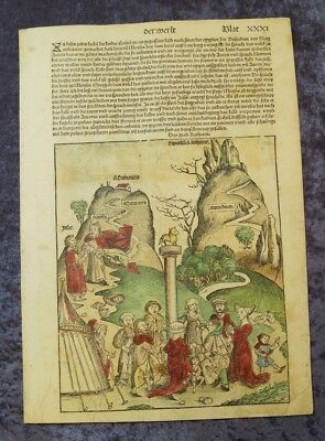 DANCE around the GOLDEN CALF OLDCOLOURED WOODCUTS SCHEDEL LEAF 1493 #C062