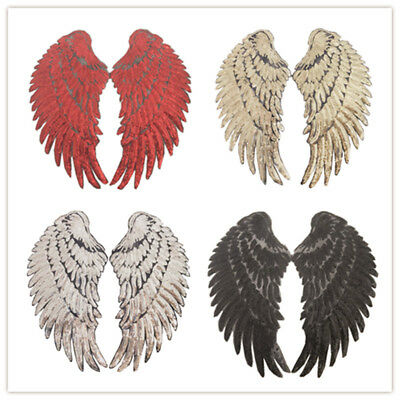 2pc/set Wings Embroidered Iron On/Sew On Sequin Patch Badge Dress Cloth Applique