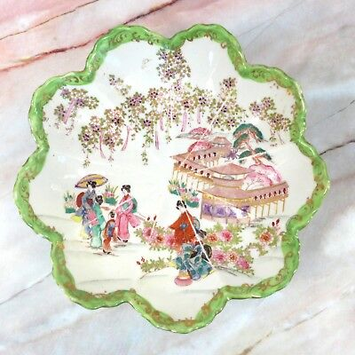"""Antique Japanese Japan Hand Painted Pink & Green Scenic Porcelain Bowl 9.75"""""""